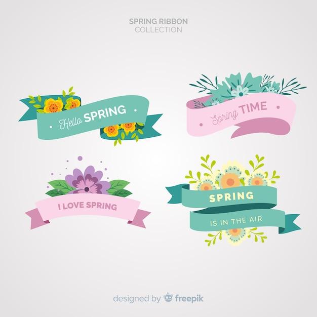 Coleção de fita plana primavera Vetor grátis