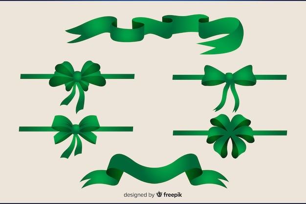 Coleção de fita verde de natal plana Vetor grátis