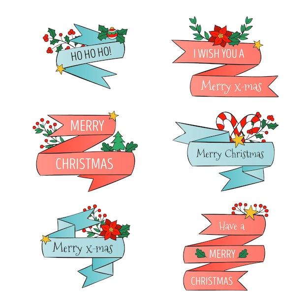 Coleção de fitas de natal desenhada à mão Vetor grátis