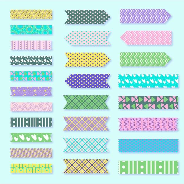 Coleção de fitas washi desenhada à mão Vetor grátis