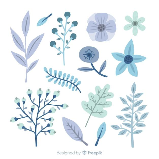 Coleção de flores de inverno plana Vetor grátis