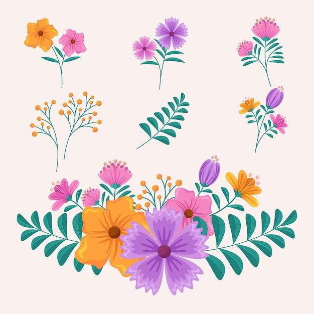 Coleção de flores de primavera Vetor grátis