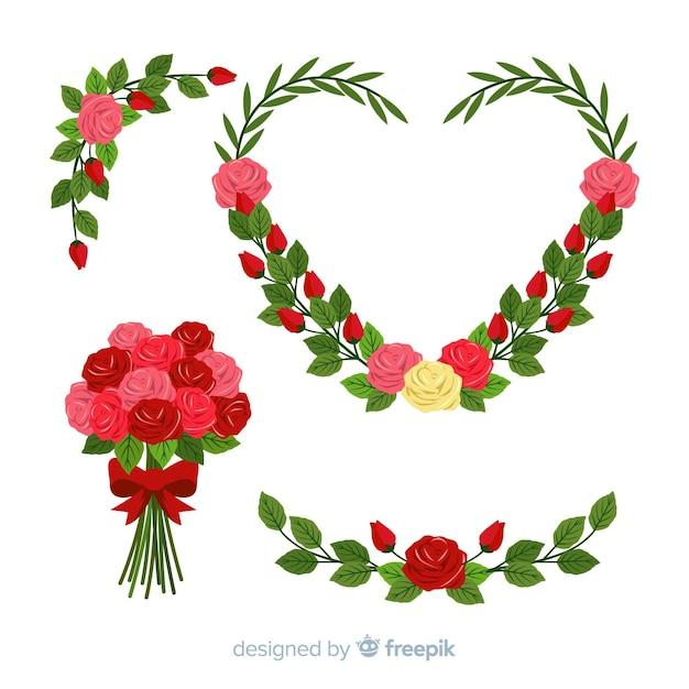 Coleção de flores do dia dos namorados Vetor grátis