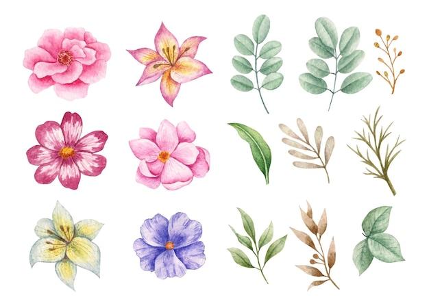 Coleção de flores e folhas para desenho de buquê Vetor Premium