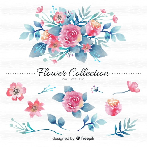 Coleção de flores em aquarela Vetor grátis