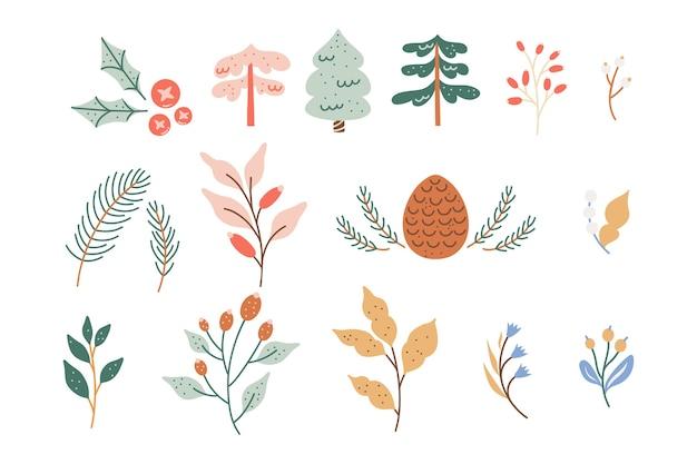 Coleção de folhagem de inverno, flores coloridas em tons pastéis fofos e folhas. Vetor Premium