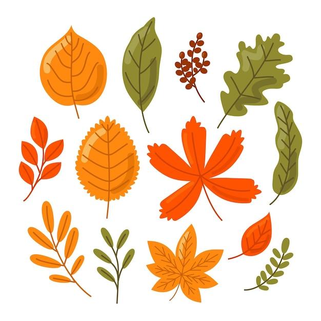 Coleção de folhas de outono de design plano Vetor grátis