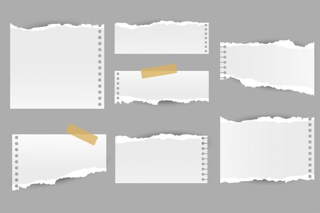 Coleção de folhas de papel rasgado Vetor grátis