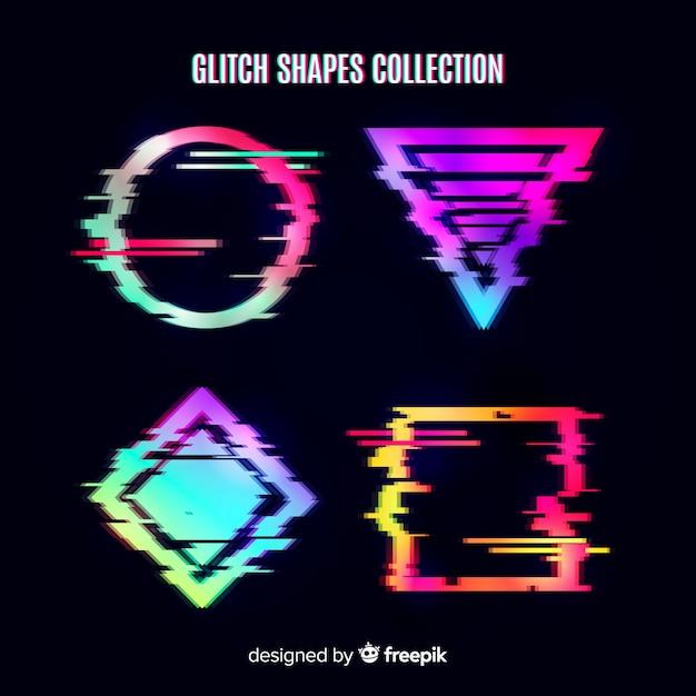 Coleção de forma geométrica de falha Vetor grátis