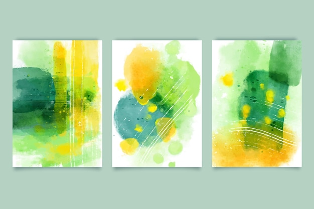Coleção de formas abstratas em aquarela Vetor Premium