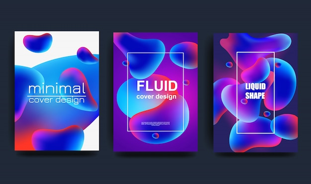 Coleção de formas de vetor líquido abstrato, fundos gradientes coloridos modernos, conjunto de elementos de design limpo e fresco Vetor Premium
