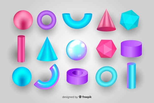 Coleção de formas geométricas tridimensionais Vetor grátis