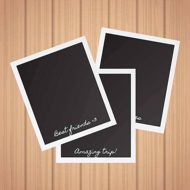 Coleção de fotos polaroid Vetor grátis