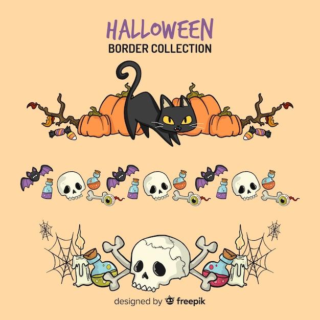 Coleção de fronteira criativa de halloween Vetor grátis