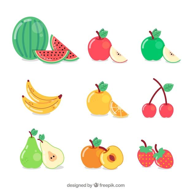 Coleção de frutas deliciosas Vetor grátis