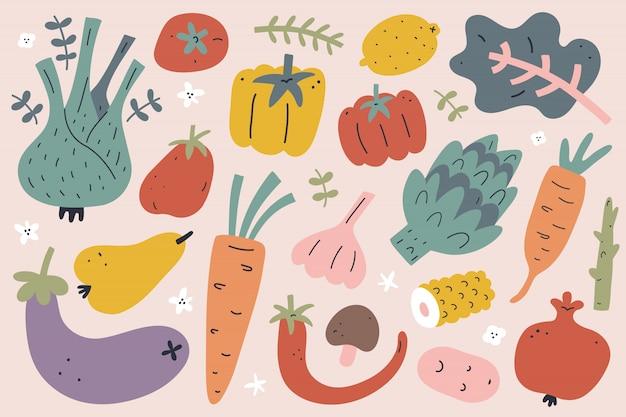 Coleção de frutas e legumes de mão desenhada, ilustrações isoladas Vetor Premium