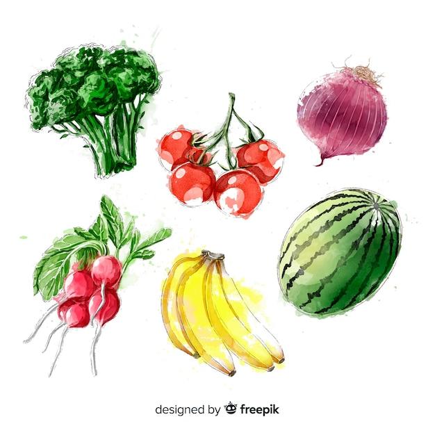 Coleção de frutas e legumes em aquarela Vetor grátis