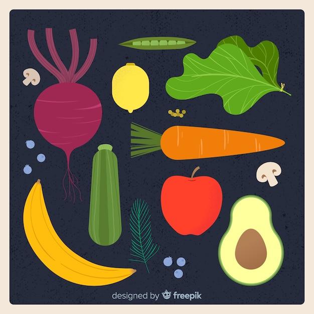 Coleção de frutas e legumes Vetor grátis