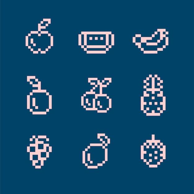 Coleção de frutas pixeladas mistas Vetor grátis