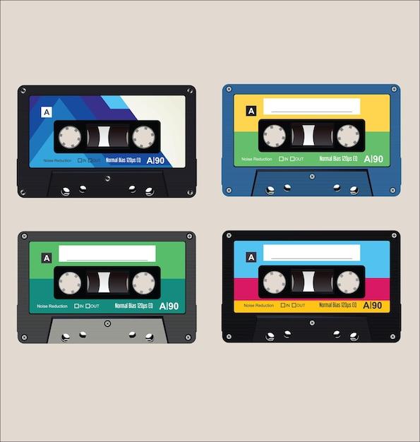 Coleção de fundo de fitas de áudio coloridas antigas Vetor Premium
