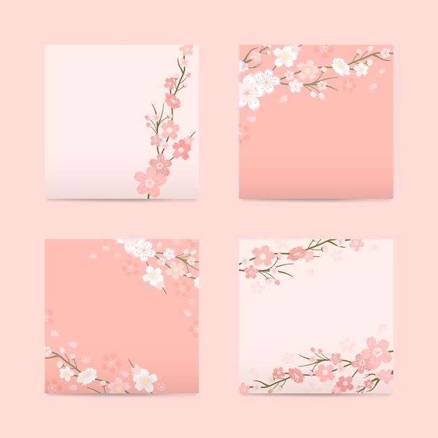 Coleção de fundo de flor de cerejeira Vetor grátis
