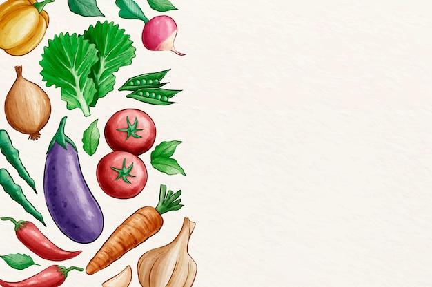 Coleção de fundo de legumes com espaço de cópia Vetor grátis