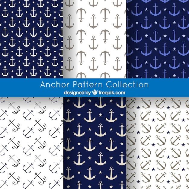 Coleção de fundo do padrão anchor Vetor grátis