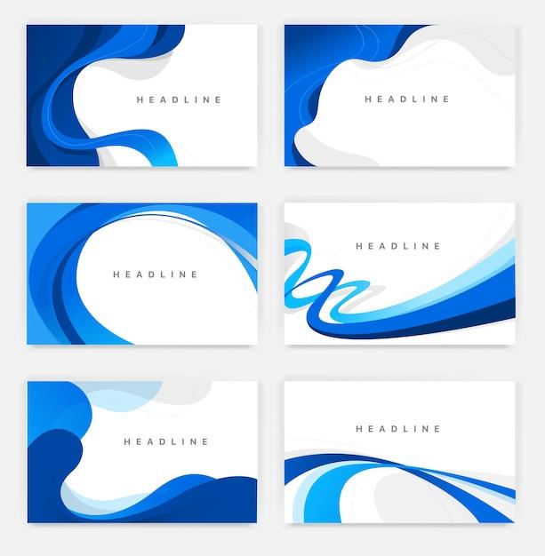 Coleção de fundos simples de estilo minimalista com linhas e curvas Vetor Premium