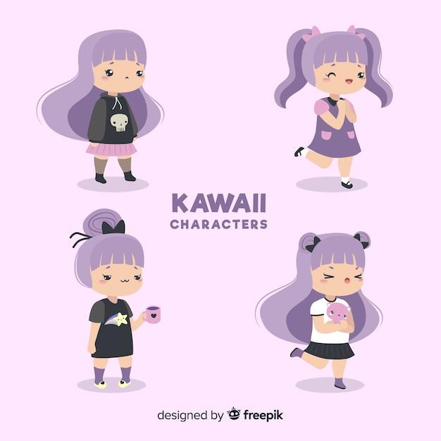 Coleção de garota desenhada mão kawaii Vetor grátis
