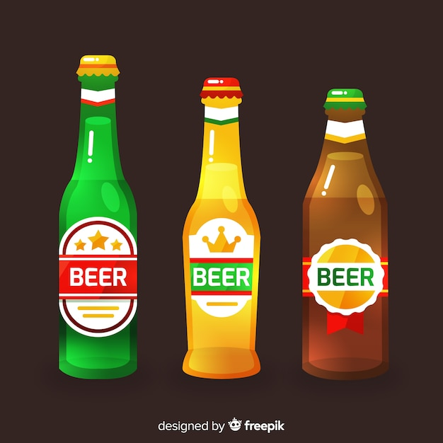 Coleção de garrafa de cerveja Vetor grátis
