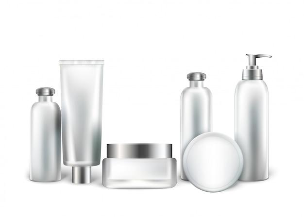 Coleção de garrafas brancas e tubos para cosméticos Vetor Premium