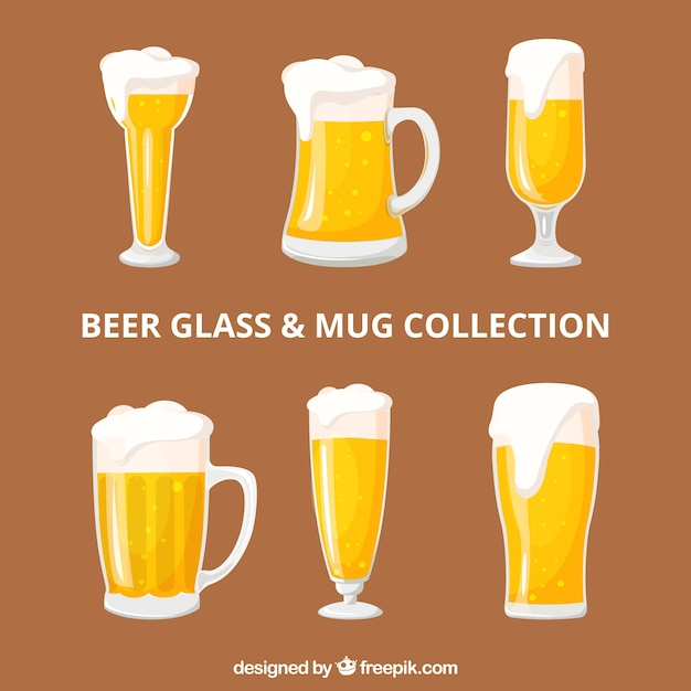 Coleção de garrafas de cerveja Vetor grátis