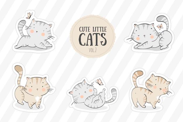 Coleção de gatinhos fofos Vetor Premium