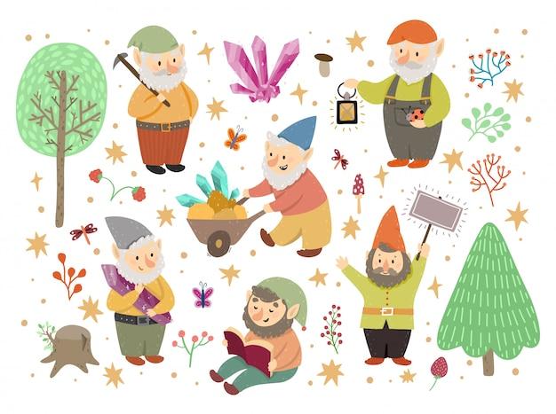 Coleção de gnomos de jardim clássicos, conjunto de personagens de desenhos animados bonitos contos de fadas. situações diferentes. o personagem fantástico duende gnomo representa um mundo mágico. Vetor Premium