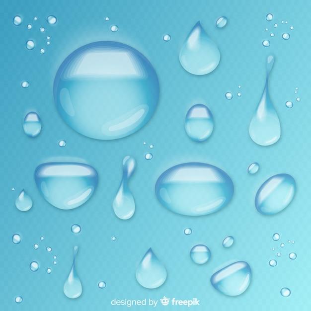 Coleção de gotas de água realistas Vetor grátis