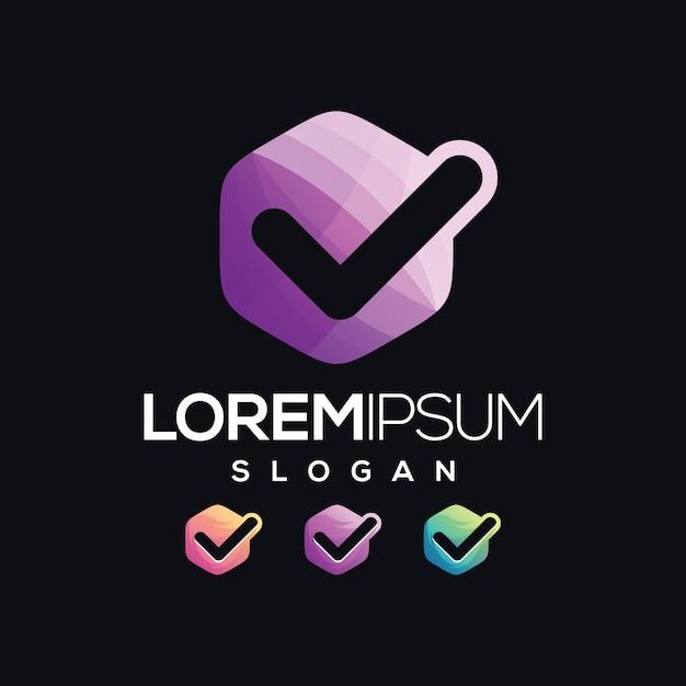 Coleção de gradiente de logotipo de lista de verificação Vetor Premium