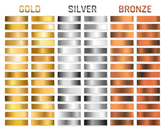 Coleção de gradiente metálico ouro, prata, cromo, bronze. placas brilhantes com efeito metálico de ouro, prata, cromo, bronze. Vetor Premium