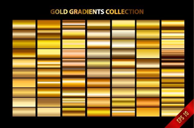 Coleção de gradientes de ouro Vetor Premium