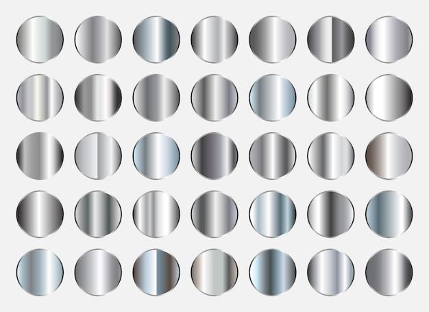 Coleção de gradientes de prata Vetor Premium
