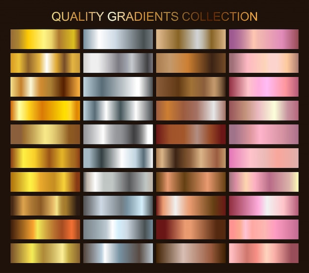 Coleção de gradientes metálicos Vetor Premium