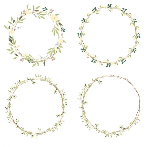 Coleção de grinalda de flores silvestres brancas Vetor Premium