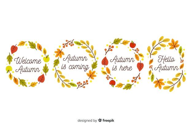 Coleção de grinalda de folhas de outono mão desenhada Vetor grátis