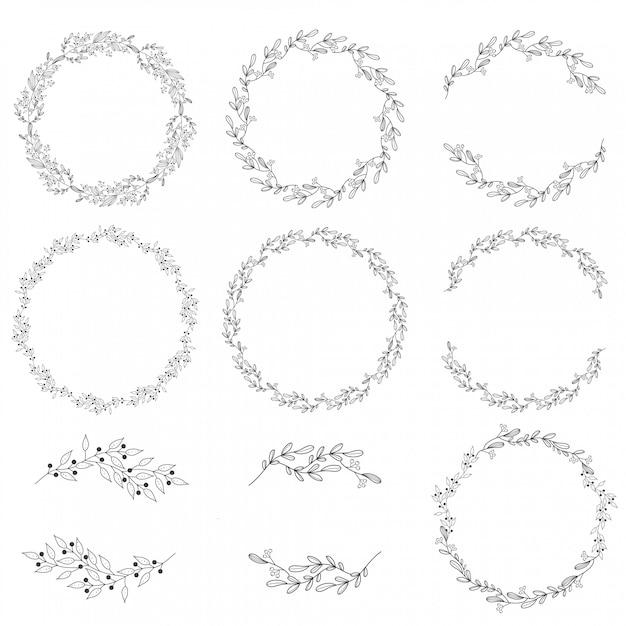 Coleção de grinalda de primavera doodle Vetor Premium