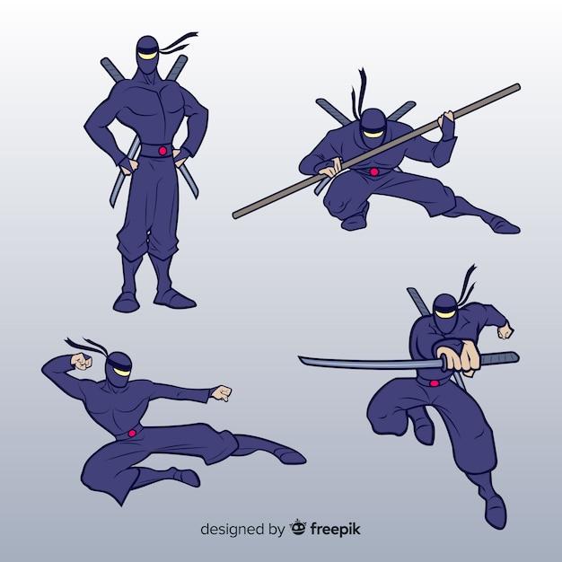 Coleção de guerreiro ninja em diferentes posses Vetor grátis