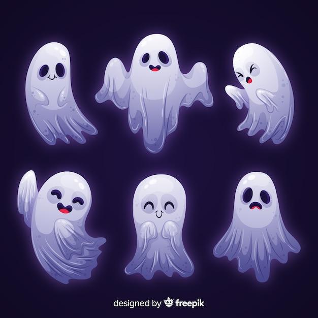 Coleção de halloween de fantasma de luz branca Vetor grátis