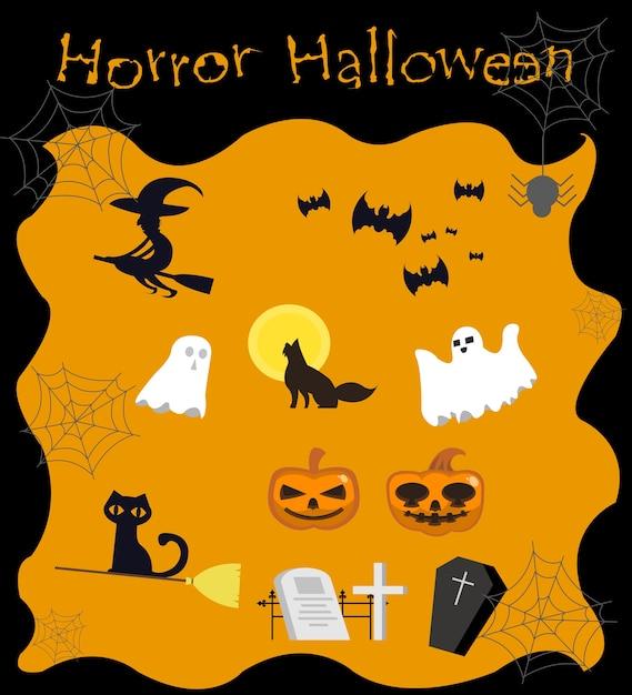 Coleção de halloween Vetor Premium