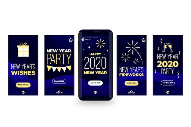 Coleção de história do instagram de festa de ano novo em 2020 Vetor grátis