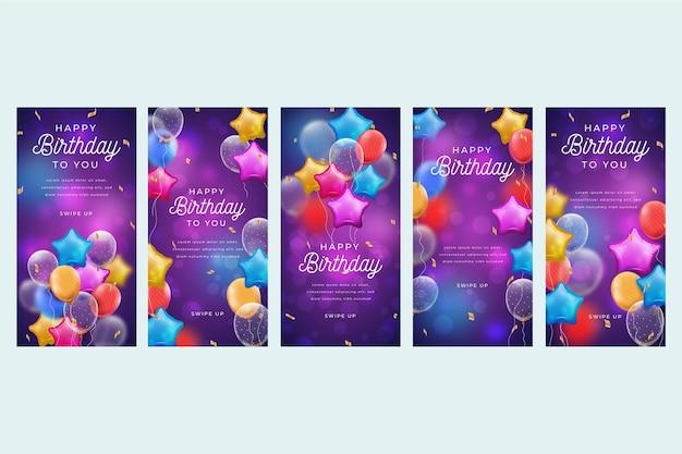 Coleção de histórias de aniversário no instagram Vetor Premium