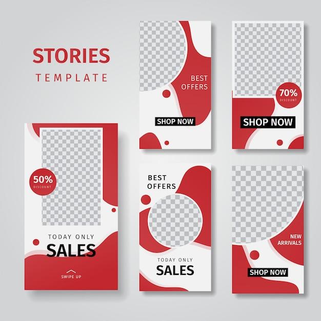Coleção de histórias de mídia social que vendem fundos de banner Vetor Premium