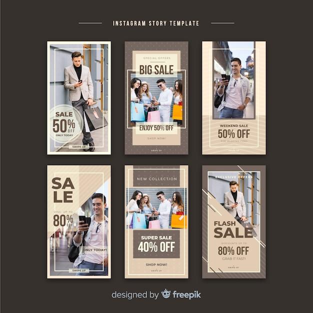Coleção de histórias de moda venda instagram Vetor grátis
